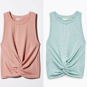 Wilfred Free Daley Tank Knotted-front Top LOT OF 2